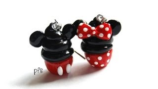 DIY Minnie and Mickey Mouse Polymer Clay Cupcake Earrings Tutorial - YouTube