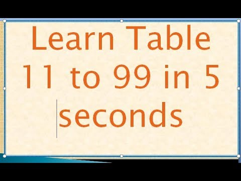 (Learn Multiplication table from 11 to 99 in 5 seconds - Duration: 16 minutes.)
