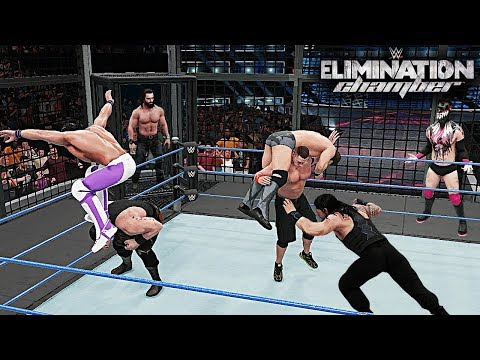 WWE 2K18 Elimination Chamber 2018 - Reigns vs John Cena vs Braun vs Rollins vs Balor vs Miz vs Elias