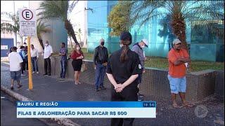 Grandes filas para saque do auxílio emergencial na região.