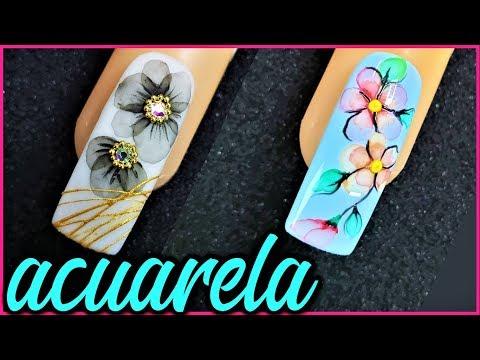 Diseños de uñas - tecnica acuarela en uñas - como hacer flores faciles con acuarela en las uñas - efecto acuarela uñas