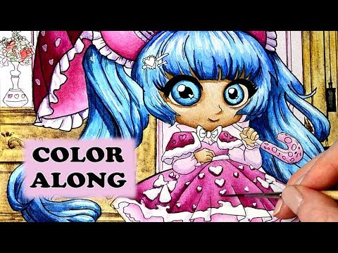 chibi girls coloring book color along tutorial in watercolor