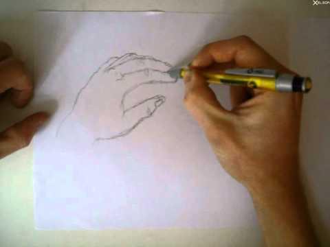 Hände zeichnen Hände 2x-speed