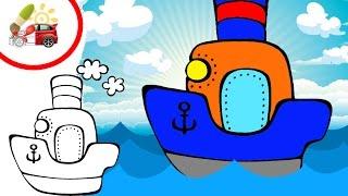 Раскрашки-анимашки. Мультик про пароход