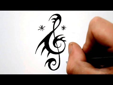 Designing a Quick Tribal Music Treble Clef Tattoo Design