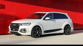 """2016 ABT QS7 based on 2016 Audi Q7In the case of the ABT QS7, the """"S"""" in SUV surely stands for sporty in a very special way: The 3l TFSI shows no less than 410 hp or 301 kW, an enormous plus of 77 hp (56 kW) on the normal engine. But since most customers will opt for the supercharged 3l diesel for economic reasons as well, ABT Sportsline, the global market leader when it comes to tuning cars produced by the Volkswagen Group, has come up with a power package for this engine, too. The diesel now has 325 hp (239 kW), up from 272 hp or 200 kW. Its torque is up from 600, now at 680 Nm, which enables the 2.1t Audi Q7 to tow almost any trailer. """"We want the Q7 to be powerful and superior in any situation,"""" says Hans-Jürgen Abt, the renowned Bavarian company's CEO, about his engineers' work.The new Audi Q7 is much more than an ordinary SUV at any rate. After all, its design is unusually elegant. It has a perfect appearance wherever you will take it. And as an ABT it is especially extravagant: Particularly the dynamic wide-body aero package reveals the driver's self-confidence: front skirt, fender extensions, door strip attachments and the impressive rear skirt set with the angular four-pipe exhaust system show the ABT QS7's sporty nature. And the narrow-body version, with no fender extensions, also underscores the chic design, with both aero packages being available with a special rear spoiler and fender inserts. """"Well-rounded, indeed,"""" says Hans-Jürgen Abt and adds that shortly a lower suspension will be launched, matching the ABT exterior and upgrades. This will improve the fast space cruiser Q7's handling even more.And the ideal completion of the two aero packages are of course ABT Sportsline sport-type wheels. They demonstrate an enormous dynamism and are in complete harmony with the Audi Q7. If you opt for a CR, DR or FR in 20 or 22'' is a matter of taste. But what is certain is that all ABT wheels are very light and run very quietly. It goes without saying that they a"""