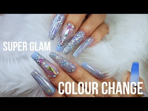 LONG ACRYLIC NAILS BLUE GLAM HOLOGRAPHIC | COLOUR CHANGE ACRYLIC | EXTREME SPARKLE