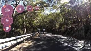 This is a 2 kilometer hill climbs we use as a training ground along with a heap of other cyclists, it's average grade is at 7% so it makes you work all the way up.