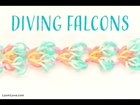 How to Make a Rainbow Loom Diving Falcons Bracelet (On a Hook!)