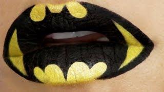 Superheroes Lip Art Tutorial: Batman - YouTube