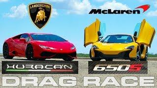 Lamborghini Huracan LP610-4 vs McLaren 650S Spyder all out Drag Race by DragTimes