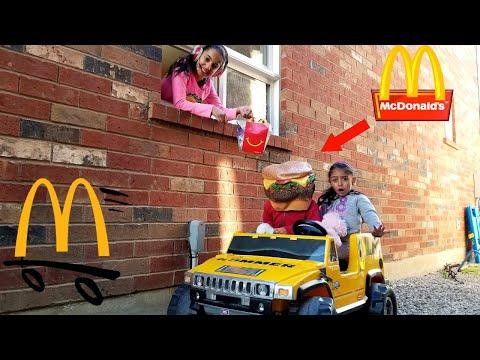 McDonalds Drive Thru Prank Kids! Power Wheels Ride On Car with GIANT Hamburger Pretend Play