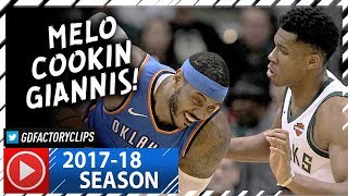Carmelo Anthony vs Giannis Antetokounmpo Duel Highlights (2017.10.31) - Hoodie Melo vs Greek Freak!