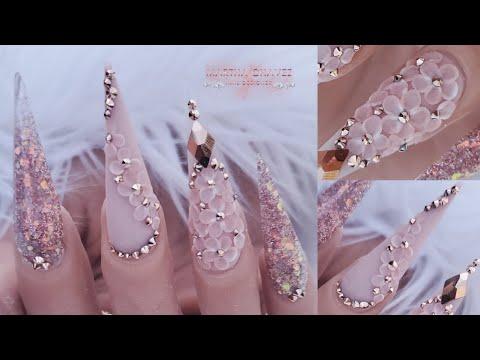 "Uñas Acrilicas ""Rose Gold""3D Nail Art"
