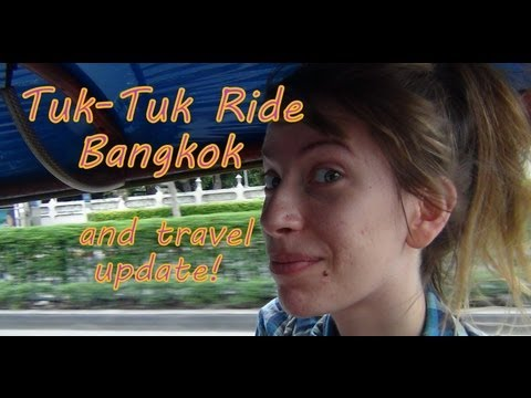 Tuk-tuk Auto Rickshaw ride to our hotel in Bangkok, Thailand