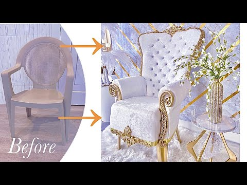 SEE HOW I TURNED A PLASTIC CHAIR INTO A THRONE CHAIR   DIY CHAIR ON A BUDGET!