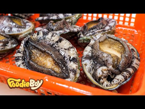 Raw Abalones with Assorted Seafood / Korean Street Food / Noryangjin-Dong, Seoul Korea