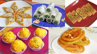 Diwali Sweets Video Recipes | Badam Katli, Kaju Pista Rolls, Jalebi, Burfi & Laddus