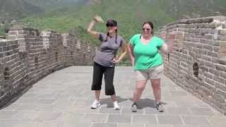 Kung Fu dance party fun on the Great Wall 长城 of China