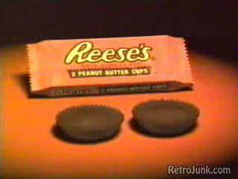reeses - I really loved this commercial when I was little... kinda makes you wonder what that ipod commercial was a spin off from huh-- good things always start with ...
