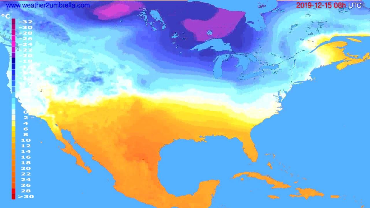 Temperature forecast USA & Canada // modelrun: 12h UTC 2019-12-14