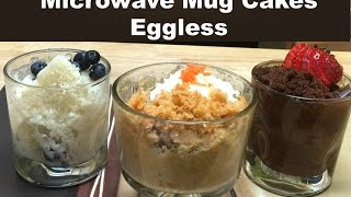 3 Classic Microwave Mug Cakes without Eggs | Vanilla, Chocolate and Carrot Cake Recipe Video