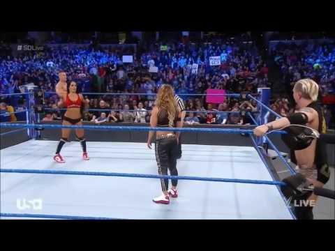 WWE Smackdown Live John Cena & Nikki Bella vs Carmella & James Ellsworth 07/03/17