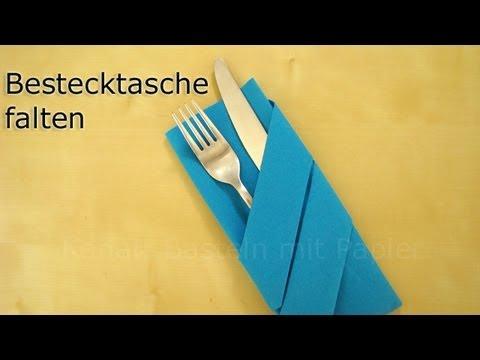 Servietten falten: Bestecktasche falten für Hochzeit, Geburtstag - Einfache Tischdeko
