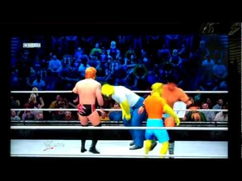 WWE 12: Homer Simpson & Bart Simpson Vs. Heath Slater & Justin Gabriel