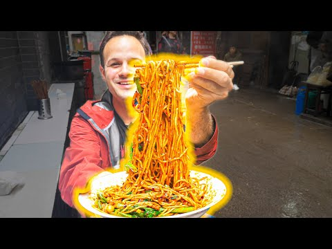 The BEST Noodles in the WORLD!!! Chinese FIRE NOODLE  Street Food Tour of Chongqing - EXTREME!!!