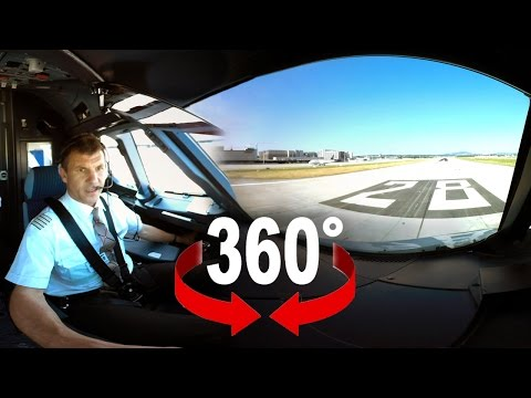 Ever wonder what your pilots are doing at takeoff? 360° cockpit view of an Airbus A320