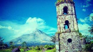 Daraga Philippines  City new picture : Cagsawa Ruins near active Mayon Volcano , Daraga , Philippines