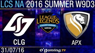 CLG vs Apex - LCS NA Summer Split 2016 - W9D3
