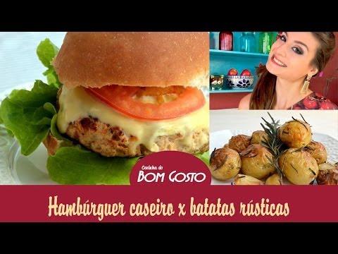 Hambúrguer Caseiro (frango ou porco) e Batatas Rústicas