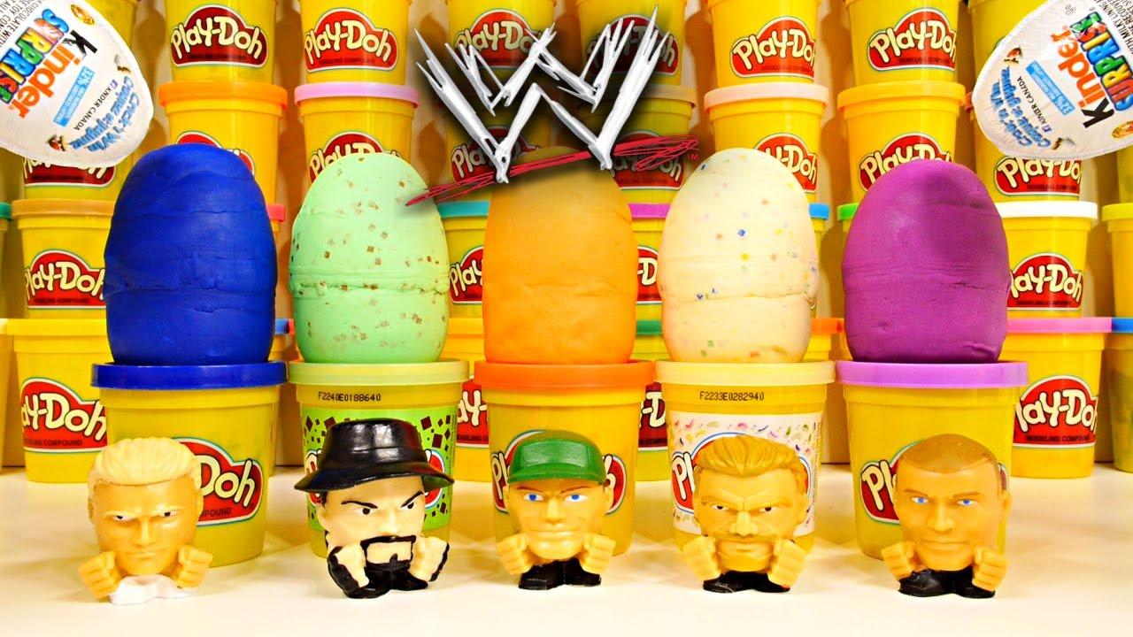 PLAY DOH Surprise Eggs Round 2 WWE Mashems Toys Kinder Surprise John Cena The Rock Playdough