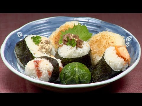 onigiri - Ingredients for Onigiri (7 kinds of onigiri) 360ml Rice (1½ cups) 50ml 10% Salt Water (1¾ fl oz) 2 sheets of Toasted Nori Seaweed Lightly-Salted Salmon Fille...