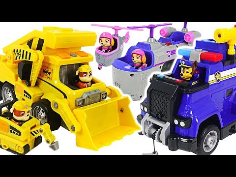 Paw Patrol Ultimate Rescue Construction Truck, Police Cruiser! Defeat dinosaur! #DuDuPopTOY