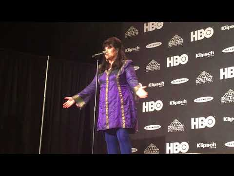Ann Wilson of Heart speaks backstage at Rock Hall induction