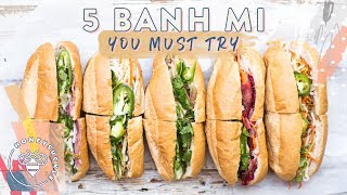 #BuzyBeez! Today's video is not a recipe video but an introduction to one of my favorite Vietnamese Foods, Banh Mi - 5 of them! Be sure to check out the playlist below for more Viet Food!SUBSCRIBE: https://www.youtube.com/user/honeysucklecatering?sub_confirmation=1Vietnamese Food Playlist: https://www.youtube.com/playlist?list=PL81ef2gEnaNPJ9_91iTYFlQJqSU-7kTIOMy Grilled Pork Banh Mi: https://youtu.be/We4NsM_moJQThese sandwiches are from: https://www.yelp.com/biz/thanh-huong-sandwiches-san-joseThe Special Grilled Chicken Banh Mi: https://www.yelp.com/biz/thanh-lan-restaurant-san-joseMusic by Lullatone: https://www.youtube.com/user/lullashawnMaking things Fun, Pretty, and Delicious! Honeysuckle is a lifestyle channel for young adult women interested in entertaining and cooking at home.INSTAGRAM Follow me: http://instagram.com/honeysucklecateringBLOG: http://www.honeysucklecatering.com/© 2017 Honeysuckle Catering. All Rights Reserved.