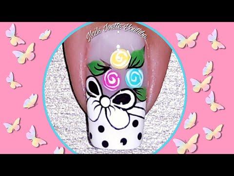 Diseños de uñas - Decoración de uñas para principiante paso a paso fácil de hacer/diseño de uñas moño y rosas