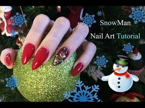 nail art natalizia pupazzo di neve - tutorial