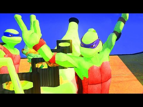 Racing on machines! Ninja Turtles! Super Warriors! New cartoon about a super hero for kids!