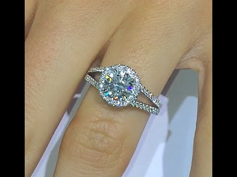 1.50 ct Round cut Diamond Engagement Ring in Halo Split Band