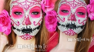 Sugar Skull Makeup Tutorial (800 RHINESTONES! ORIGINAL MADEULOOK!) - YouTube