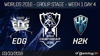 EDG vs H2K - World Championship 2016 - Group Stage Week 1 Day 4