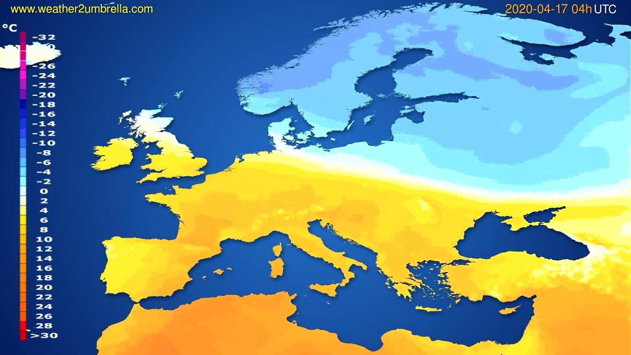 Temperature forecast Europe // modelrun: 12h UTC 2020-04-16