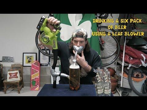 Mies yrittää juoda lehtipuhaltimen avulla 6 kaljaa – alle 40 sekunnissa