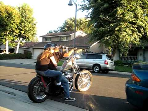 Govinda takes his mata for a ride on his newest build...sic chopper.