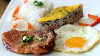 Broken Rice with Grilled Pork Chop and Meatloaf - Com Tam Suon Cha Trung