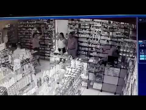 Part. 2 - Câmeras de segurança flagram ação de criminosos em farmácia, em Mineiros (GO)